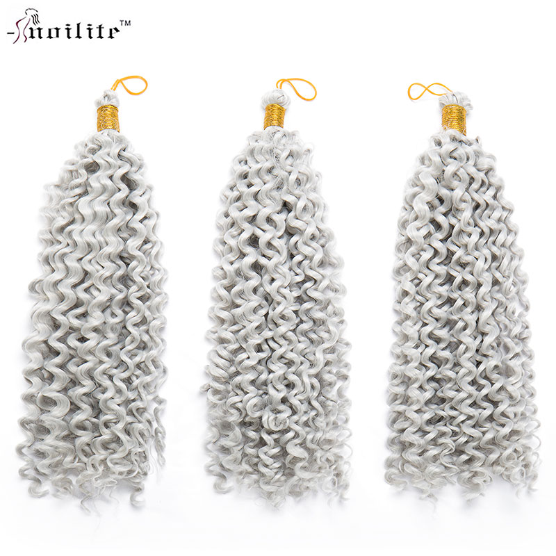 SNOILITE 14 3pcs/lot Ombre Water Wavy Hair Crochet Synthetic Braiding Hair water wave ja ...
