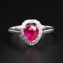 Robira Engagement Ring for Women 100% Natural Red Luxary Ruby Gemstone Diamond Jewelry 18K Gold Wedding Rings Fine Jewelry