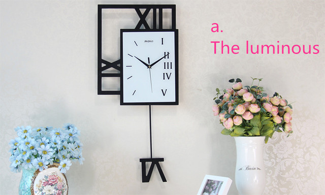 Fashion creative living room wall clock, luminous watch modern decoration, electronic quartz clock personalit