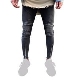 Новые повседневные мужские рваные приталенные мотоциклетные винтажные джинсы хип-хоп уличные брюки рваные джинсы для мужчин Vaqueros Hombre 5