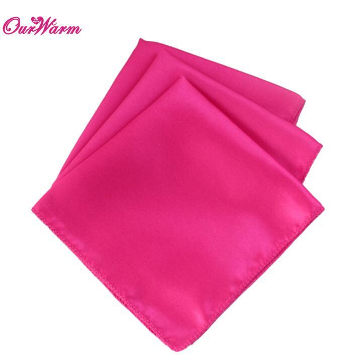 "100Pcs Wedding Table Napkins 12"" Square Pocket Handkerchief Satin Table Dinner Napkins for Wedding Decoration Accessories - Цвет: FUS"