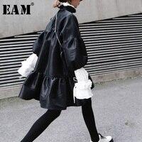 [EAM] 2019 New Spring Winter Stand Collar Long Puff Sleeve Black Loose Hem Ruffels Stitch Loose Dress Women Fashion Tide JK852