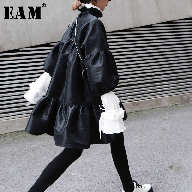[EAM] 2020 New Spring Summer Stand Collar Long Puff Sleeve Black Loose Hem Ruffels Stitch Loose Dress Women Fashion Tide JK852