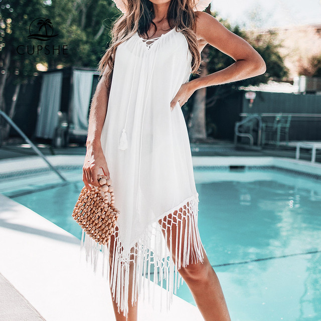 CUPSHE White Backless Cover Up With Tassels Sexy V-neck Lace Up Halter Beach Dress Women 2020 Summer Bathing Suit Beachwear 3