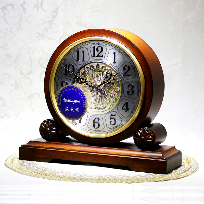 Weilingdun Music Hourly Chiming High Quality Table Clock Europe Antique Wooden Mute Quartz Desktop Clock