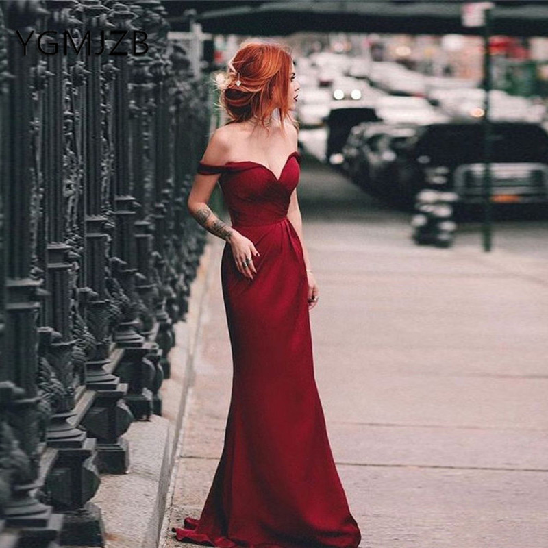 Burgundy Long   Bridesmaid     Dresses   2019 Mermaid V-Neck Off The Shoulder Satin Women Formal Wedding Party   Dress