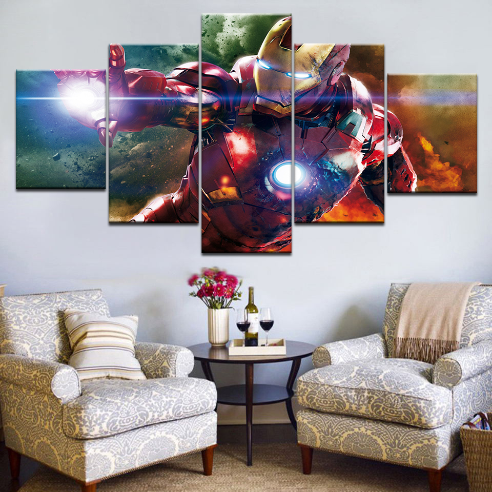 5 Panel Frame Printed cartoon Movie Super hero Iron man picture painting wall art childrens room decor poster canvas printing