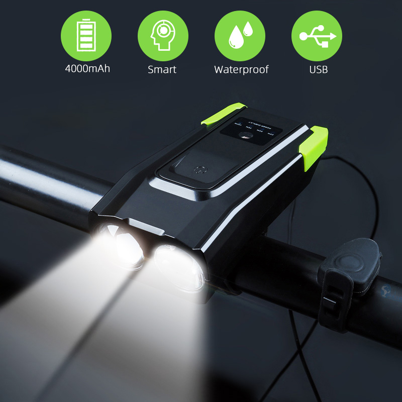 2000mAh 4000mAh Bicycle Light With Horn USB Rechargeable 800 Lumens LED Light For Bike Cycling Front Lamp(China)