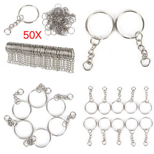 50pcs Polished Keyring Keychain Short Chain Split Ring Key Fob DIY Tools Decoration Desk Sets School Stationery Office Supplies