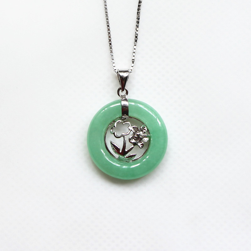 Chinese style pure 925 sterling silver delicate pendant necklaces chinese style pure 925 sterling silver delicate pendant necklaces with green nature stone fashion jewelry s0021 in pendant necklaces from jewelry aloadofball Images