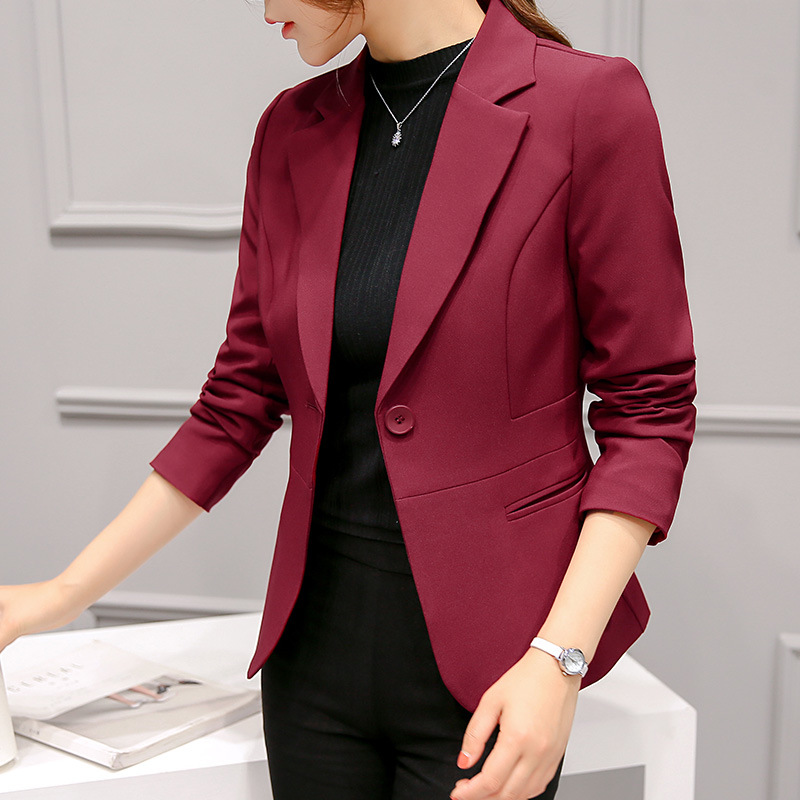 2018 New Women Classic Fashion Slim Blazer Notched Collar Long Sleeve Single Button Office Lady Casual Coat Plus Size S-XXL