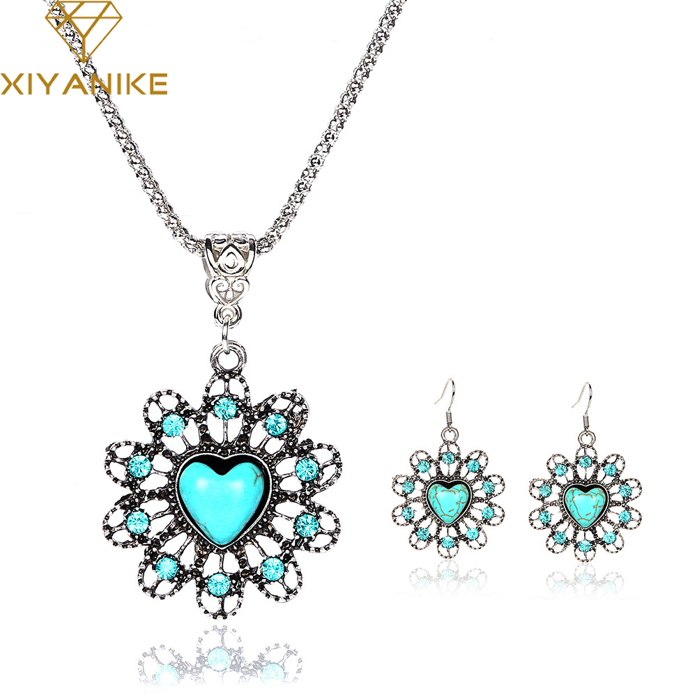 New Vintage Look Antique Silver Plated Tibetan Heart Rhinestone Necklace and Earrings Jewelry Sets E917N422
