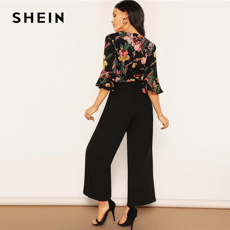 SHEIN Lady Elegant Floral Print Wrap Bodice Wide Leg Jumpsuit Spring Deep V Neck Knot Hem Flounce Sleeve Workwear Jumpsuits 2