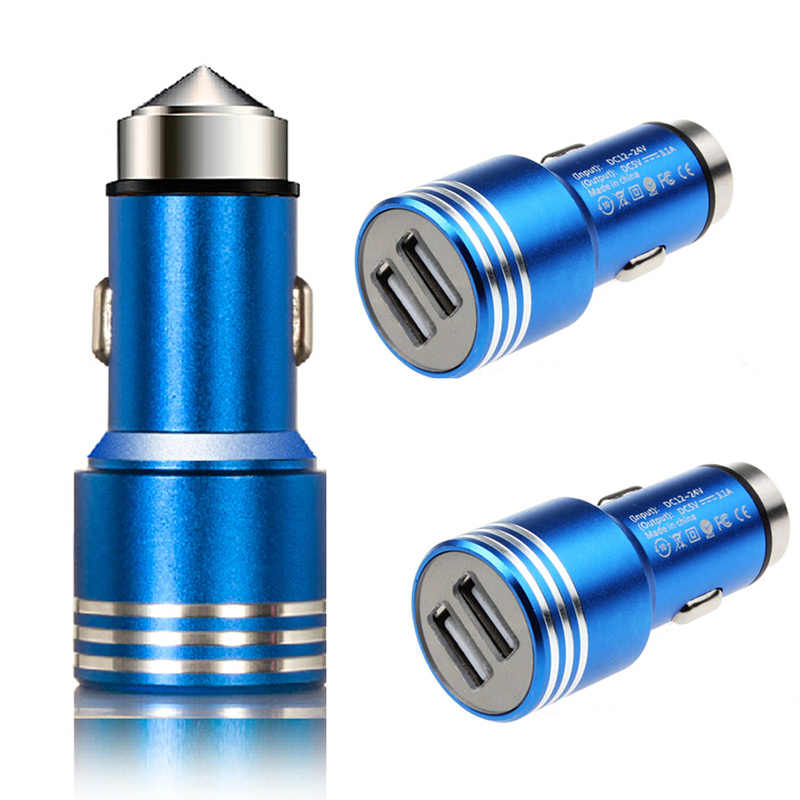 Round Car Charger 3A Metal Safety Hammer Dual USB Charger Adapter For Phone