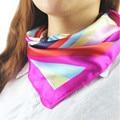 Women Fashion Autumn Summer 2016 Women Square Silk Scarf Fashion Hot Satin Rainbow Stripe Silk Satin Scarves
