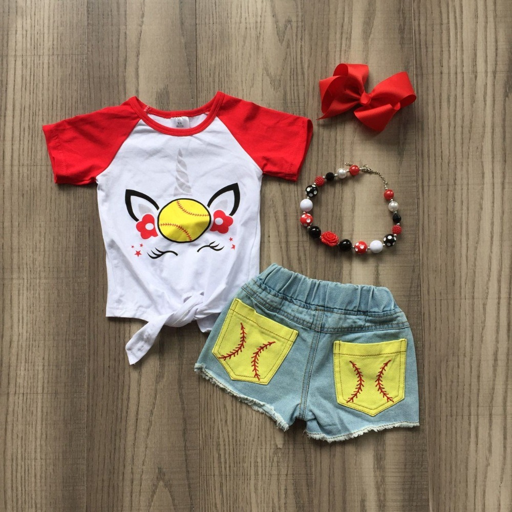 baby girls summer new arrival outfits softball denim short set outfits with bow and necklace.baby girls summer new arrival outfits softball denim short set outfits with bow and necklace.
