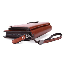High Capacity Men's Leather Clutch Wallet