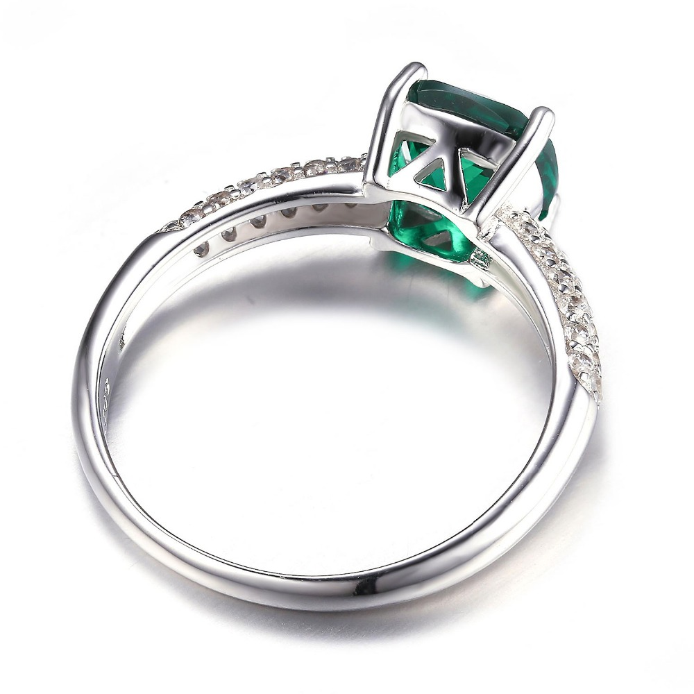 JewelryPalace Cushion Solitaire Engagement Ring 925 Sterling Silver emerald rings Mlrvo