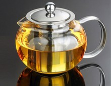 1PC 350ml,500ml,650ml,800ml,950ml,1200ml Heat Resistant Glass Tea Pot Flower Puer Kettle Coffee Teapot With Infuser EJN 1032