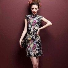 盛ココ伸縮ショート高品質リネン綿チャイナドレス 4XL 5XL 印刷薄型軽量 ChiPao 中国上海