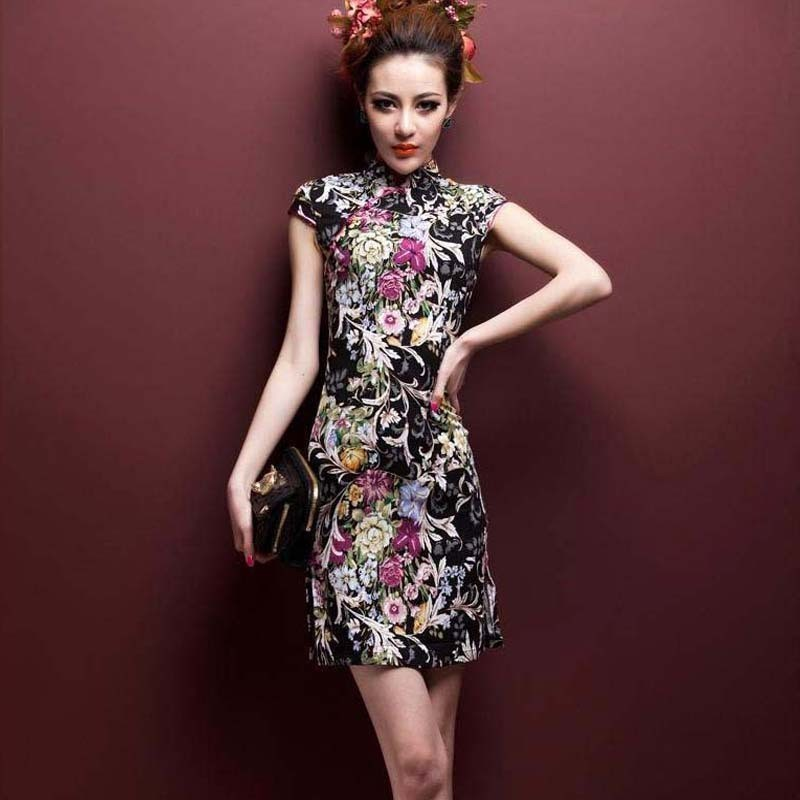 SHENG COCO Stretchable Short High Quality Linen Cotton Cheongsam Dresses 4XL 5XL Printing Thin And Light ChiPao Chinese Shanghai