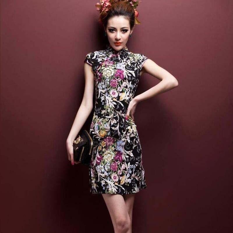 SHENG COCO Stretchable Short High Quality Linen Cotton Cheongsam Dresses 4XL 5XL Printing Thin And Light ChiPao Chinese Shanghai