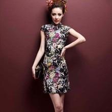 SHENG COCO растягивающееся короткое льняное Хлопковое платье Чонсам высокого качества 4XL 5XL с принтом, тонкий и светильник ChiPao, китайский Шанхай
