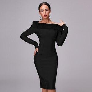 Image 4 - Robe à bandes à manches longues pour femme, nouvelle robe Sexy moulante à manches longues pour femme, avec Vent, fête de noël, nouveauté, automne 2020