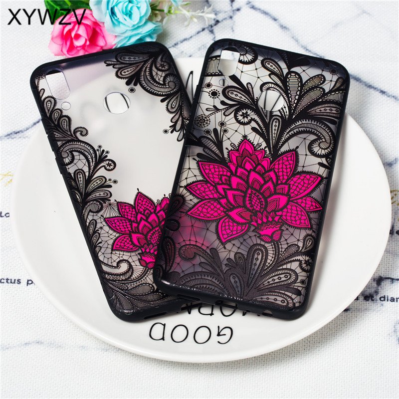 Flower Case Huawei Y9 2019 Cover Luxury Retro Lace Pattern Matte Phone For Fundas