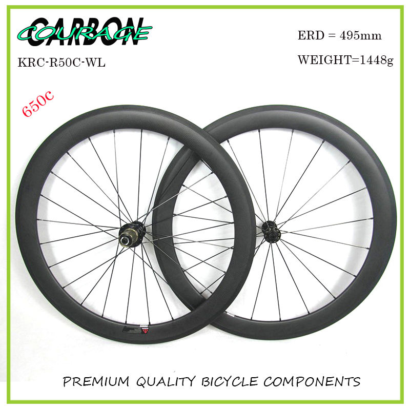Courage Carbon 650C Carbon Wheels 50x23mm Carbon Wheels Clincher Bicycle Racing Wheels Hand Build 20/24H Rims Customized Wheels racing wheels h 480 7 0 r16 4x114 3 et40 0 d67 1