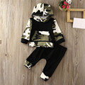 Autumn Cool Fashion Camouflage Baby Boys Cotton Long Sleeve Hooded Pocket Camouflage Tops+Pants Outfits Baby Set Clothes Casual