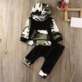 Moda outono Legal Camuflagem Bebê Meninos Algodão Manga Comprida Com Capuz Bolso Camuflagem Tops + Calça Roupas Roupas de Bebê Conjunto Roupas Casuais
