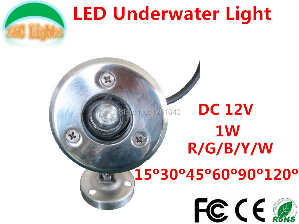1 Вт одного цвета с длинным яркий светодиодный подводные фонари, DC12V IP68 Водонепроницаемый Наружное освещение, красный зеленый синий цвет: же...