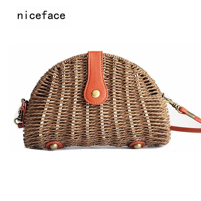 2016 Новый бренд моды женщина соломы сумки полукругом Сумка feminina Ротанга сумочка lady повседневная крючком Летний Пляж мешок