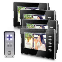 DIYSECUR 7 Inch TFT LCD Monitor Colour Video Door Phone Doorbell Home Intercom System 1V4
