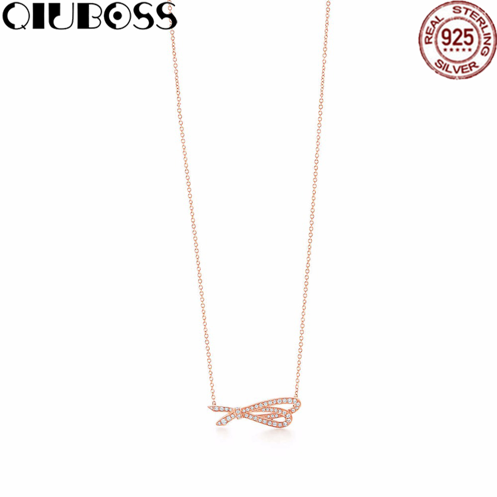 QIUBOSS Fashion And Simplicity Rose gold Bow Pendant Necklace TIFF 925 Sterling Silver Nature Fashion Jewelry fashion 925 sterling silver vintage nature beeswax