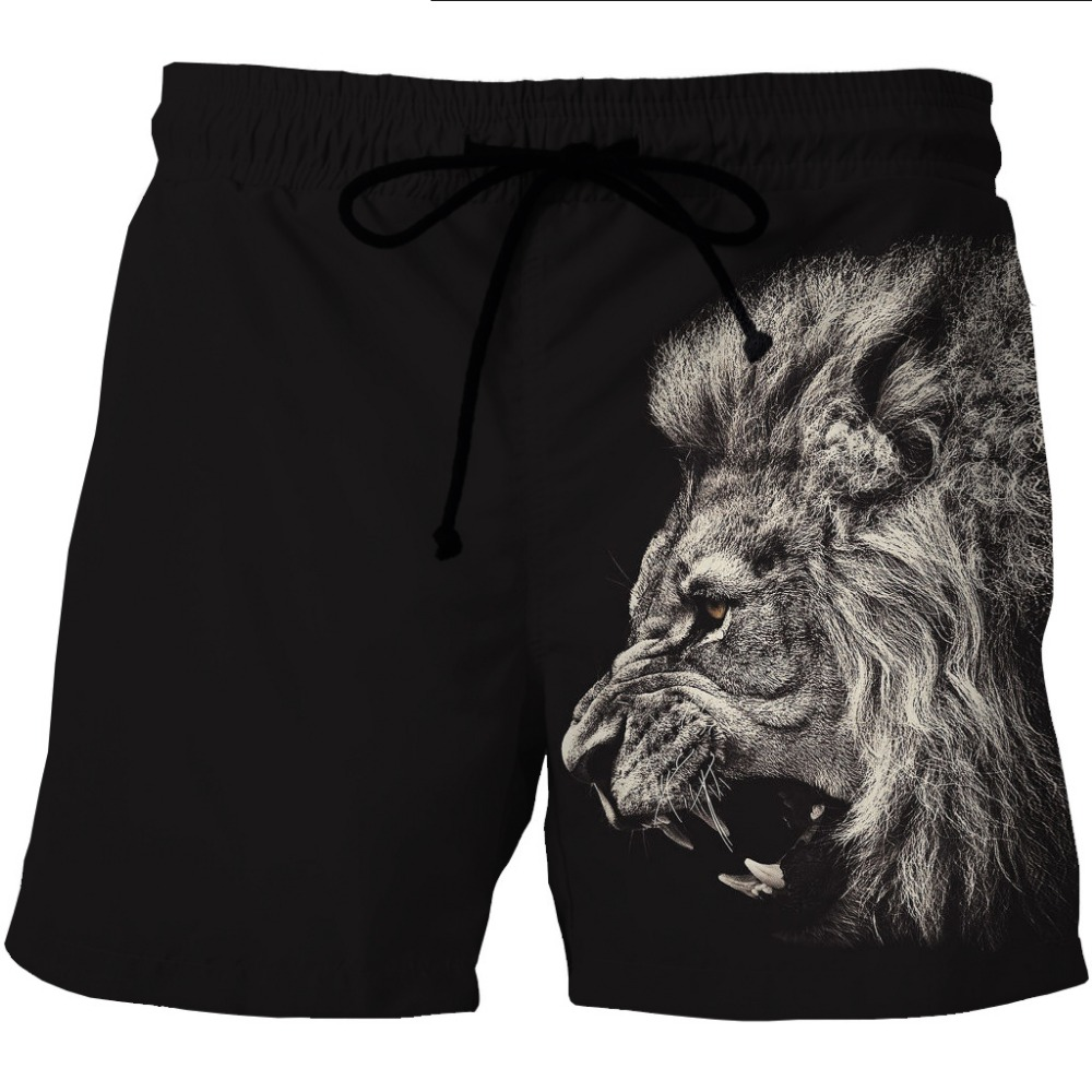 LOVE SPARK Mens Black Sports Shorts Elastic  Lion Print Bodybuilding Gym Jogging Running Boys M To 6xL