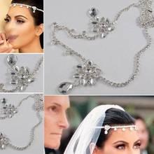 2015 Czech Crystal Forehead Waterdrop Hair Combs Bride Headband Hair Chain  Wedding Celebrity Bridal Hair Jewelry 0557fa1f58c1