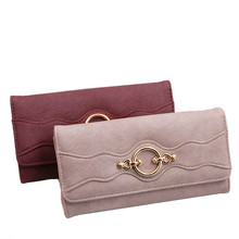 2019 New Purse  Women's wallet long Buckle Korean Style three fold fashion women's clutch bag large capacity wallet three fold wallet long section of new leather embossed clutch bag purse ms bb055