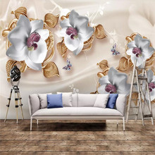 Luxury 3D jewelry flower TV background wall professional production murals, wallpaper wholesale, custom poster photo