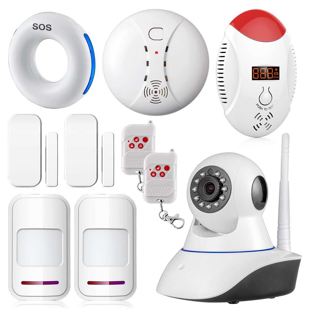 Wifi IP Camera Burglar Intruder Anti-theft Fire Alarm System Wireless Gas Smoke Sensor Home Security HD Monitoring Camera System escam qf550 super egg wifi 1 0mp alarm ip camera anti fire anti gas 720p