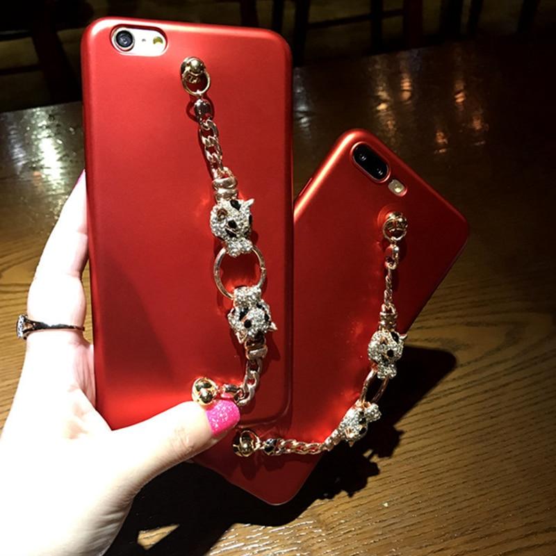 Luxury Bling 3D Animal Head Chain Tassel <font><b>Bracelet</b></font> Diamond Ultra-thin <font><b>Phone</b></font> <font><b>Case</b></font> For iPhone 7 7 Plus 6 6S 6 Plus Back Cover <font><b>Case</b></font>