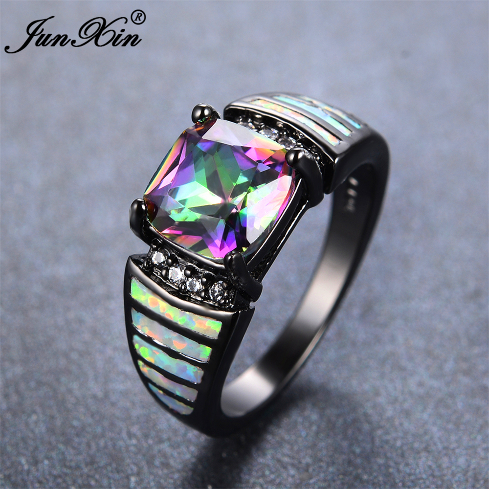 junxin bohemian female rainbow geometric ring fashion white fire opal ring vintage black gold wedding engagement rings for women in rings from jewelry - Black Opal Wedding Rings