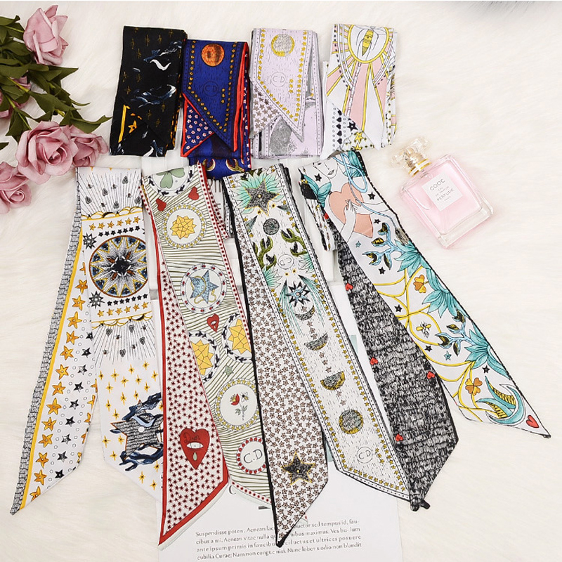 New Design Skinny   Scarf   Constellation Print Women Silk   Scarf   Small Handle Bag Ribbons Female Head   Scarves   &   Wraps