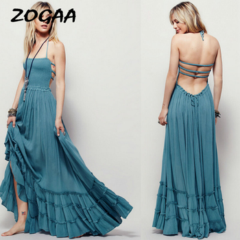 ZOGAA New Summer Women Boho Dress Sleeveless Sexy Strapless Long Dresses Backless Party Hippie Bandage Beach Vestidos 2019
