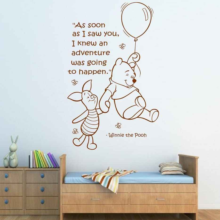 Free Shipping Quote Winnie The Pooh Wall Sticker Art Girls