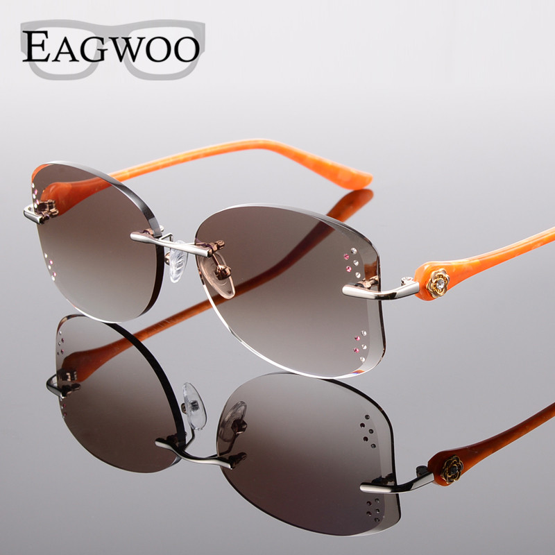 Alloy Eyeglasses Women Rimless Prescription Reading Myopia Sunglasses Glasses with Color Tinted lenses 528031 classy alloy framed presbyopia reading glasses with protective case 2 50