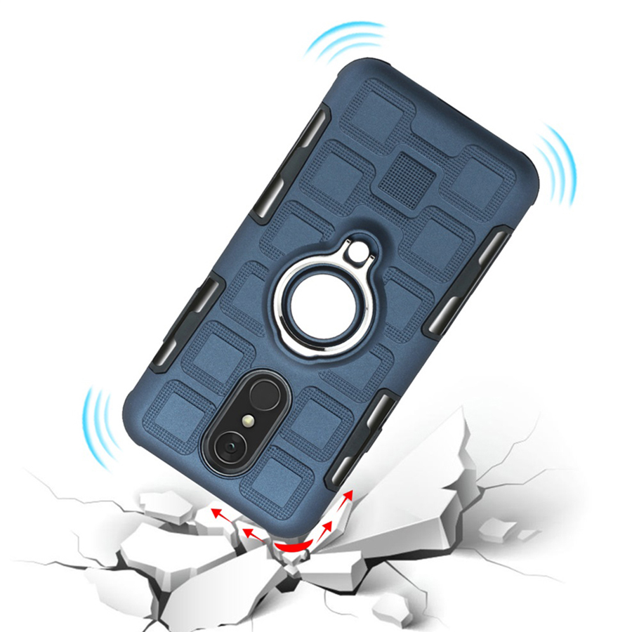 Cover For LG Q7 Silicone Shockproof Phone Case For LG Q7 Plus Luxury Armor Anti Fall Back Cover Ring Stand Case in Fitted Cases from Cellphones Telecommunications