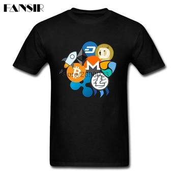 Bitcoin Ripple Ethereum Litecoin Dash Monero Cryptocurrency T-shirt Men Short Sleeve Cotton