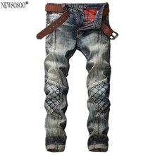 Newsosoo Бренд улица молодежная мода хлопок джинсы прямые мужчин Ретро Плед стиль Пэчворк длинные ковбойские брюки MJ23